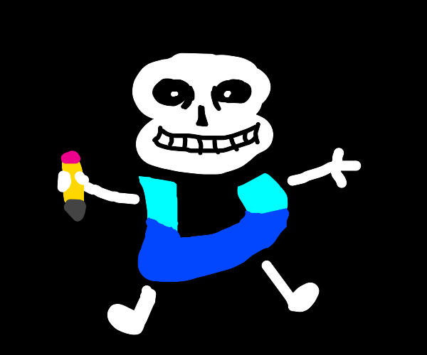 Sans becomes the Drawception D