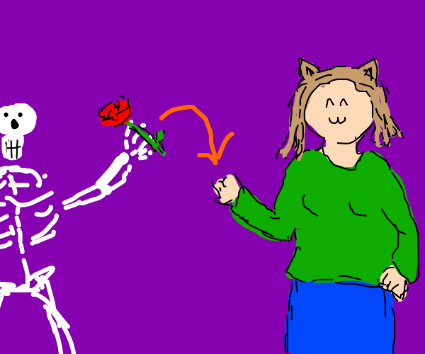 Skeleton giving a flower to a catgirl