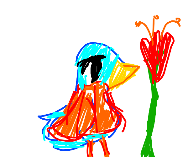 bluebird in a sweater with a tulip