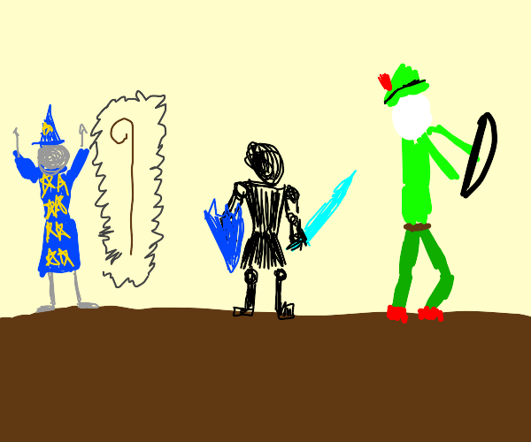 A mage, a knight, and an elf on a quest