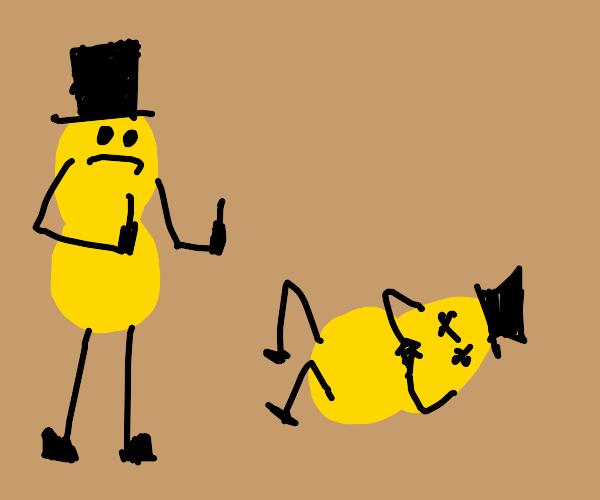 mr. peanut ripoff flips off dead mr. peanut