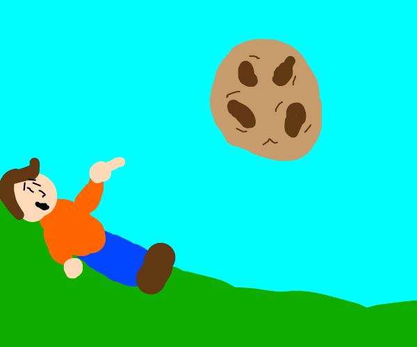 man sees cookies in the sky