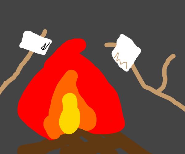 Marshmallows in campfire
