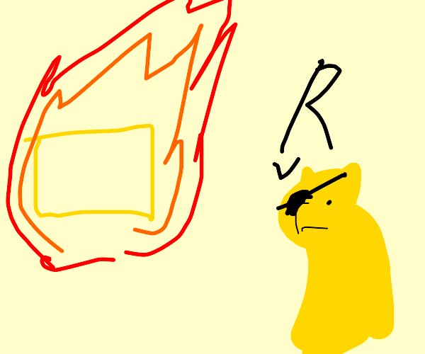 Dog says r when he sees a burning rectangle