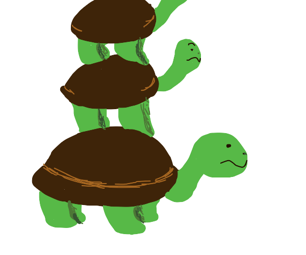 Turtles stacked on top of each other.