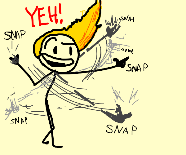 sassy stick man with pointy hair says yeh!