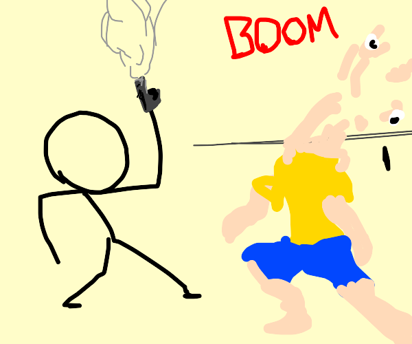 Stick figure shoots head off a squiggly man