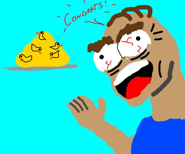 Man congratulates you on getting 400 ducks