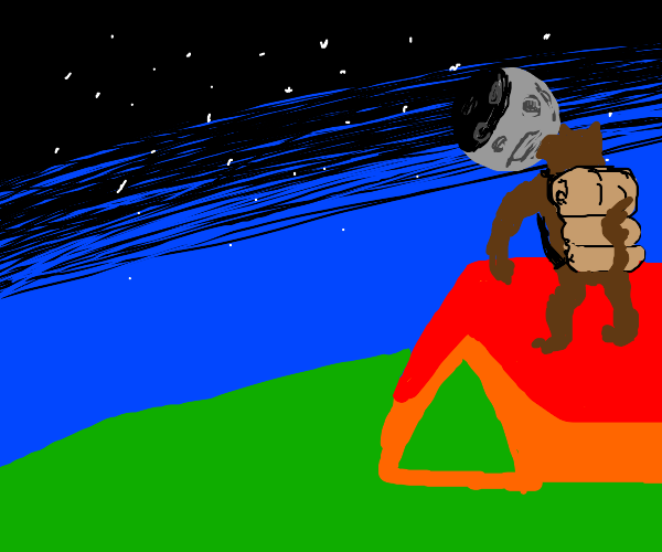 Werewolf go hiking at full moon
