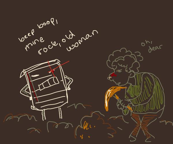paper robot has an elderly mining slave
