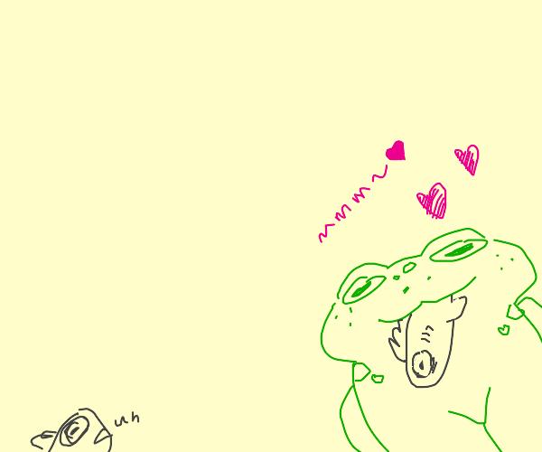 Frog eats fish