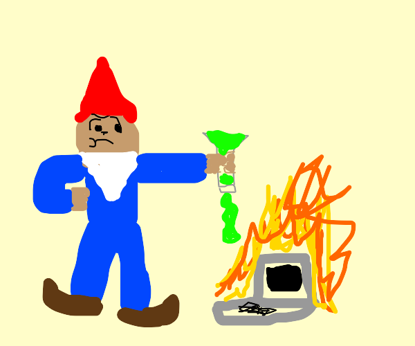 Gnome pours chemicals on laptop, in flames