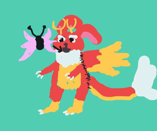 Angry jackalope with wings eats butterflies