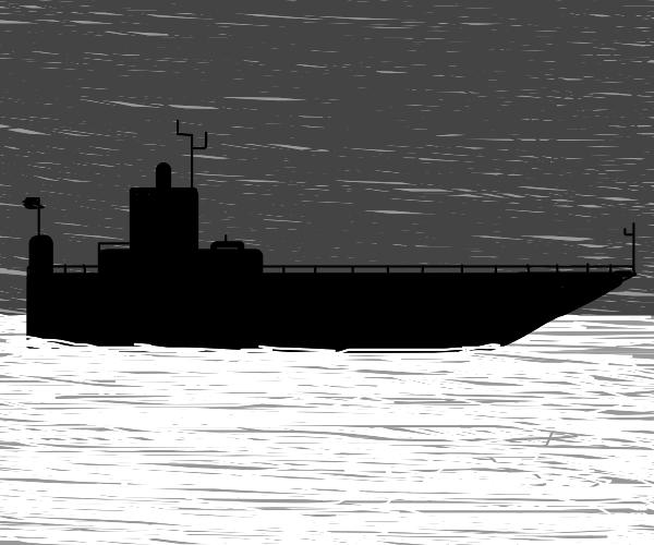Black n' white ship chilling in the ocean