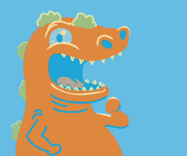 Reptar (Rugrats) but orange