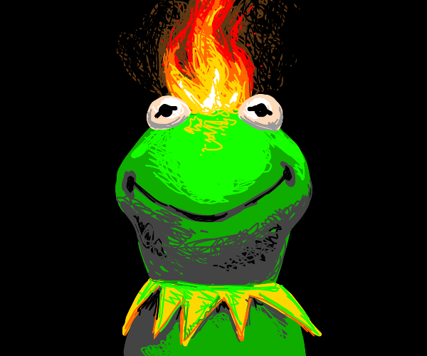 Kermit with a fiery mohawk