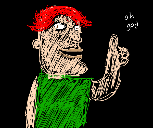 Roblox skin with red hair and a green shirt