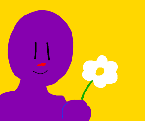 Purple guy with a flower