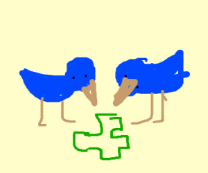 2 birds playing puzzle