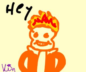 orange skeleton on fire says hi