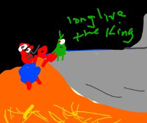 Long live the king scene but it's Mr. Krabs