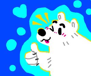Winking polar bear
