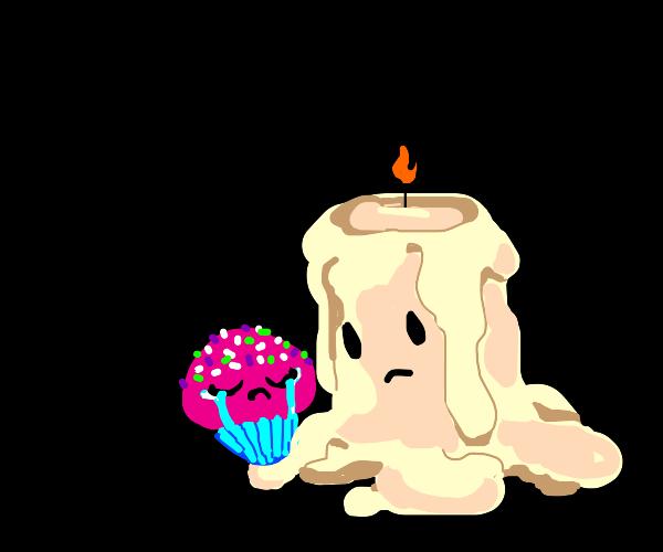 Melting candle comforting crying Pink cupcake