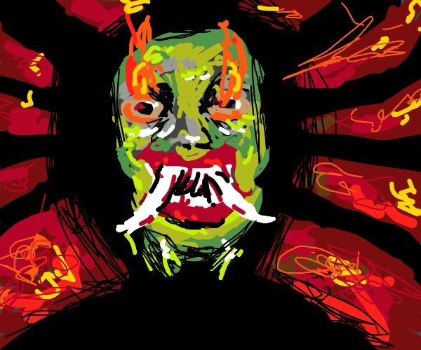 evil fiery hannya mask in hell