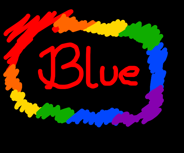 the word blue in red surrounded by rainbow