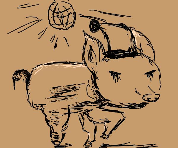 pig in santa hat dancing