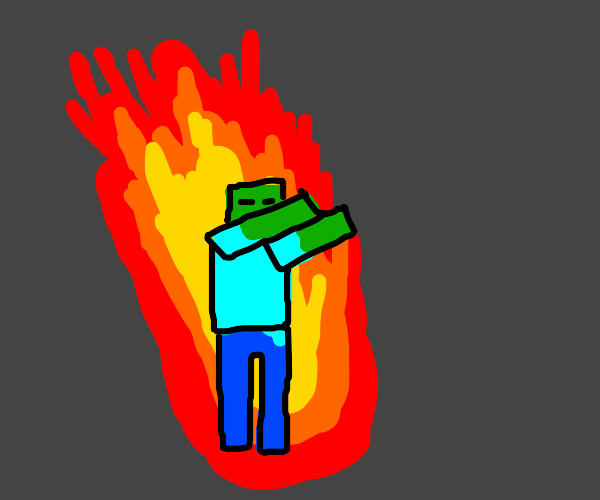 Dabbing minecraft zombie on fire