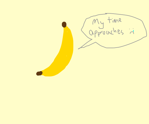 sad banana is about to get eaten