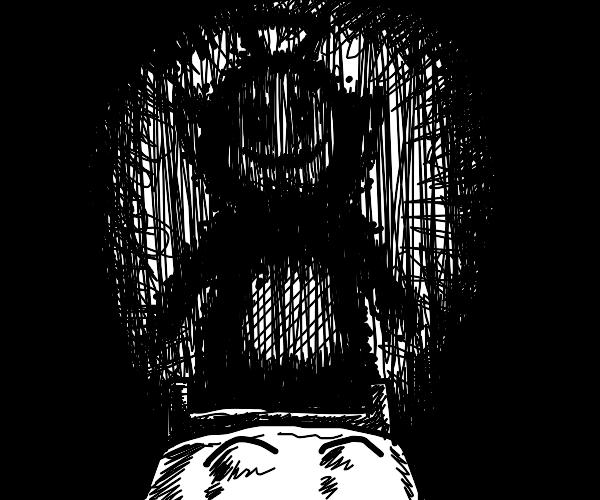 Tinky-Winky but as a Sleep Paralysis Demon