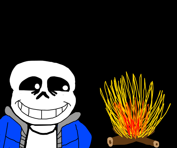 sans looks at fire