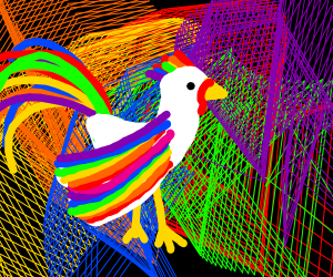 A rainbow rooster