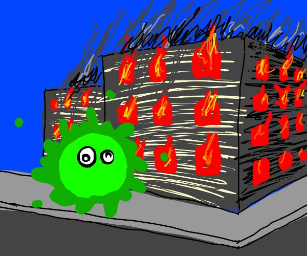 Germ burning a millenial factory