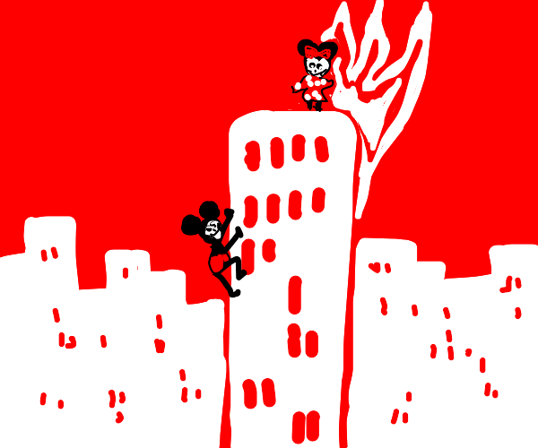 Mickey climbing a tower to save Minnie