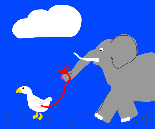 A goose carrying a elephant tied by string
