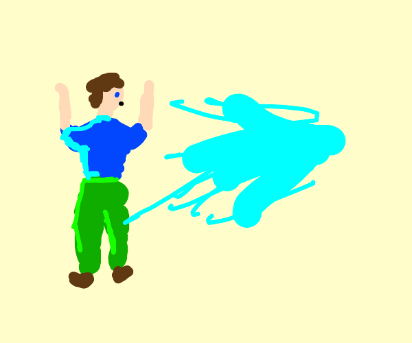 Man getting sprayed in water