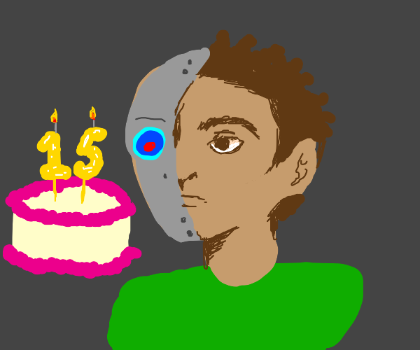 Cyborg is looking at 15th birthday's cake
