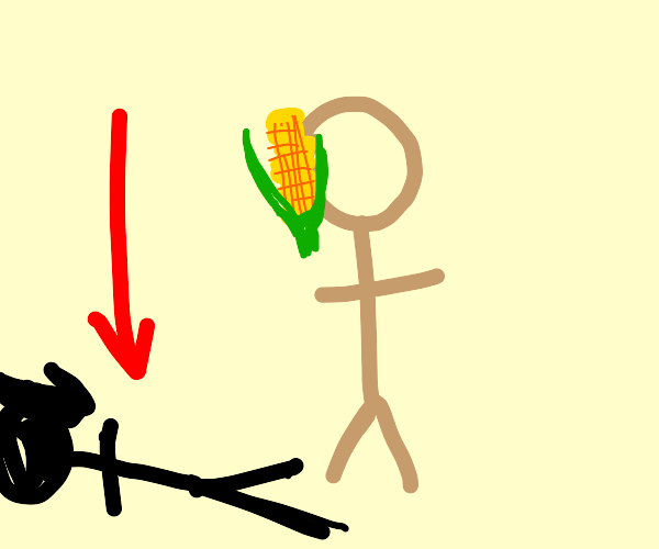 shadow of a man with corn stuck to his face