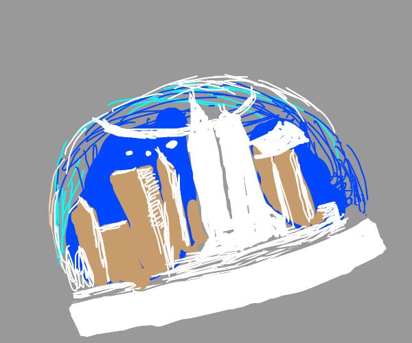 Future snow globe  city