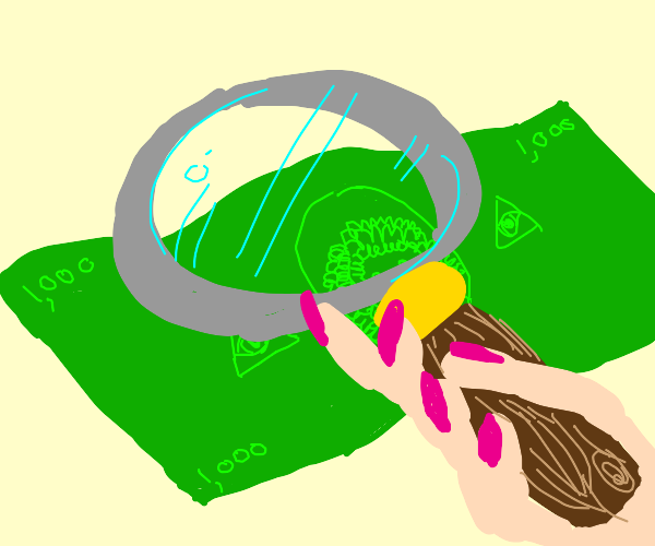 investigating $1,000 bill w magnifying glass