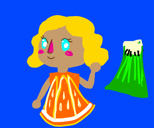 A girl in a fruit based dress