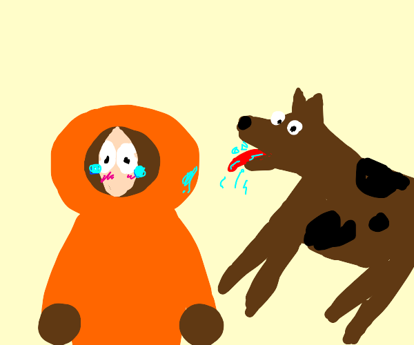 Sad Kenny South Park getting licked by a dog