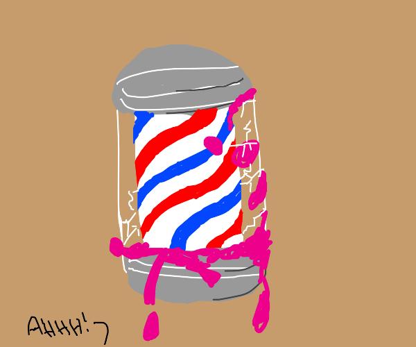 Barber shop pole dripping magenta goop