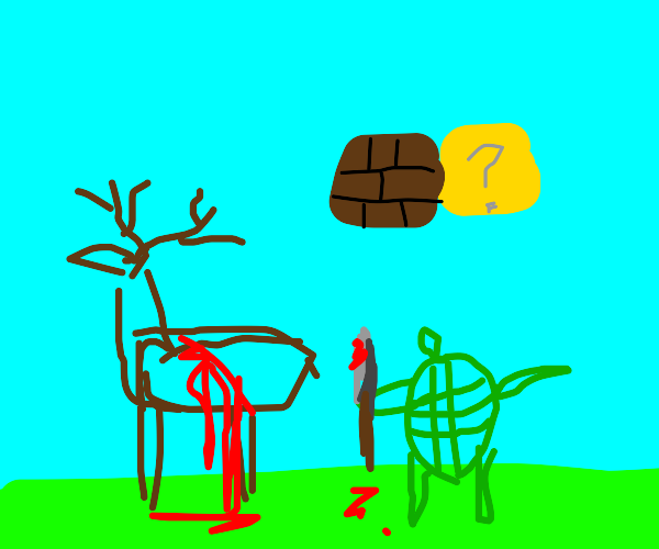 Moose gets killed by turtle in mario