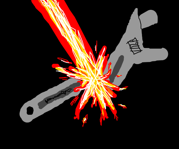 Wrench gets blasted by beam into half