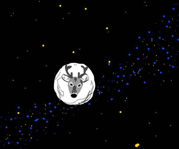 Silhouette of a buck in the moon