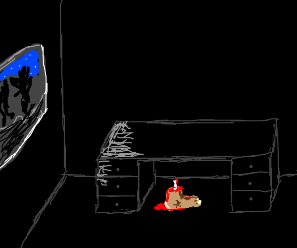 Bloody foot under desk in dark room